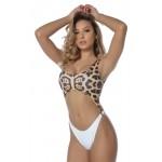 Costum de baie Combination Leopard