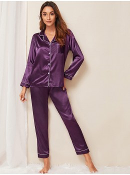 Pijama dama satin Fashion Violet
