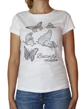 Tricou alb Jessie Fashion cu fluturi