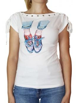 Tricou alb cu imprimeu frontal Sneakers cu fundite