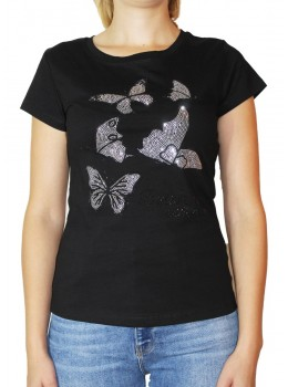 Tricou negru Jessie Fashion cu fluturi