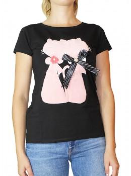Tricou negru cu imprimeu Pisicute cu fundita