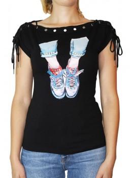 Tricou negru cu imprimeu frontal Sneakers cu fundite