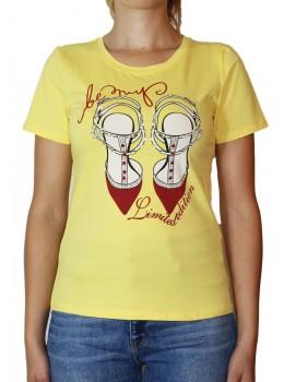 Tricou galben Jessie Fashion cu imprimeu