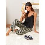 Pijama dama satin Fashion Black & White Lines