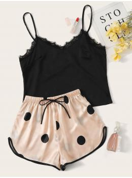 Pijama dama satin Summer Black & Pink