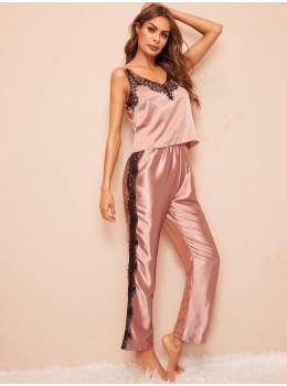 Pijama dama satin Lace Fashion Pink