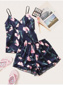 Pijama dama satin Summer Bleu Floral