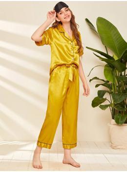 Pijama dama satin Fashion Mustard