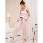 Pijama dama satin Fashion Top Pink Lines
