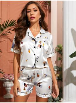 Pijama dama satin Summer Fashion White