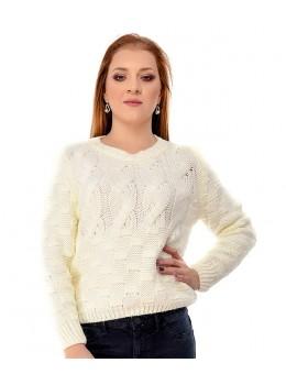 Pulover tricotat din lână Alb