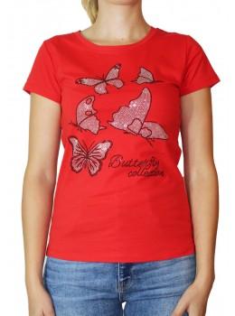 Tricou rosu Jessie Fashion cu fluturi