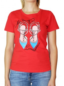 Tricou rosu Jessie Fashion cu imprimeu