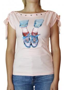 Tricou roz cu imprimeu frontal Sneakers cu fundite