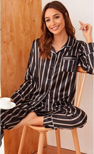 Pijama dama satin Black Lines
