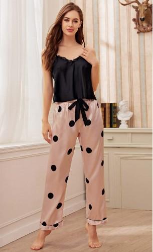 Pijama dama satin Fashion Black & Pink cu dantela