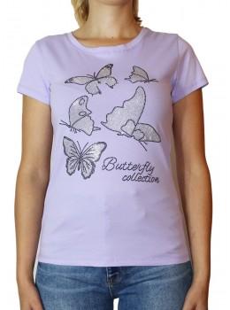 Tricou violet Jessie Fashion cu fluturi