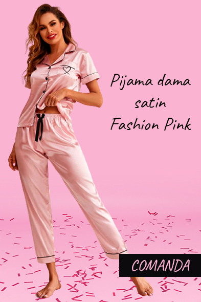 Pijamale dama satin Fashion Pink