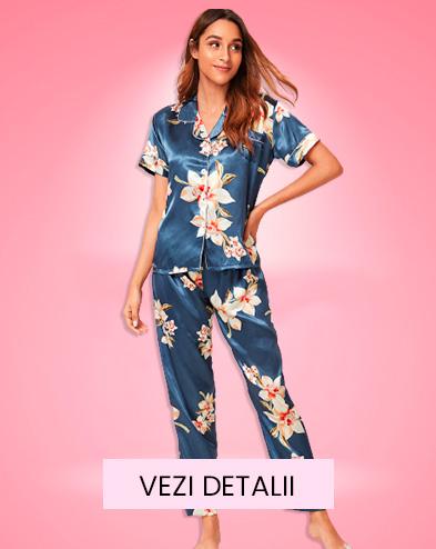 Pijama dama satin Fashion Floral Multicolor